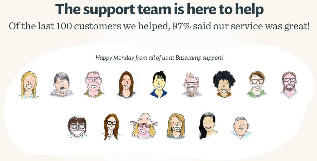 Basecamp's transparent customer support stats.