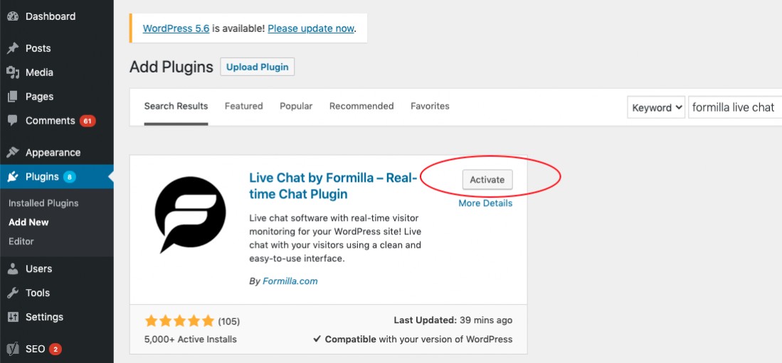 wordpress-formilla-live-chat-plugin-activate