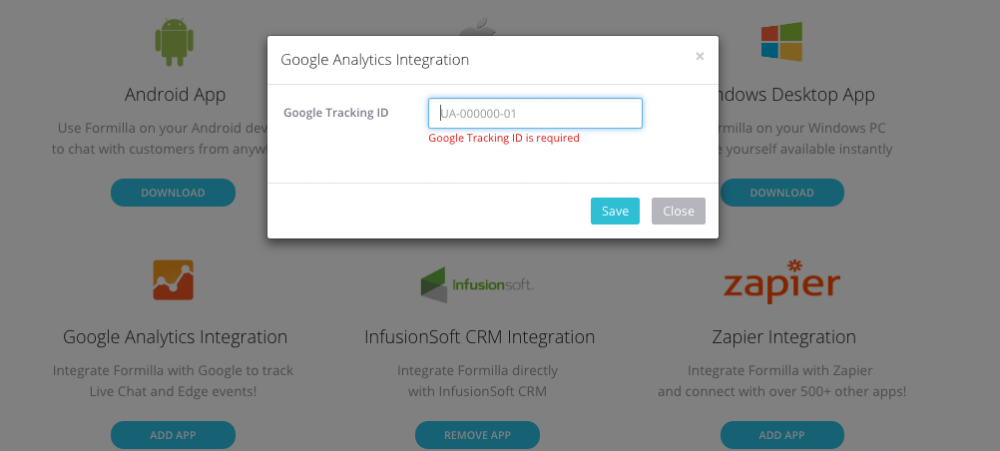 Google Analytics Tracking ID Required Formilla Integration