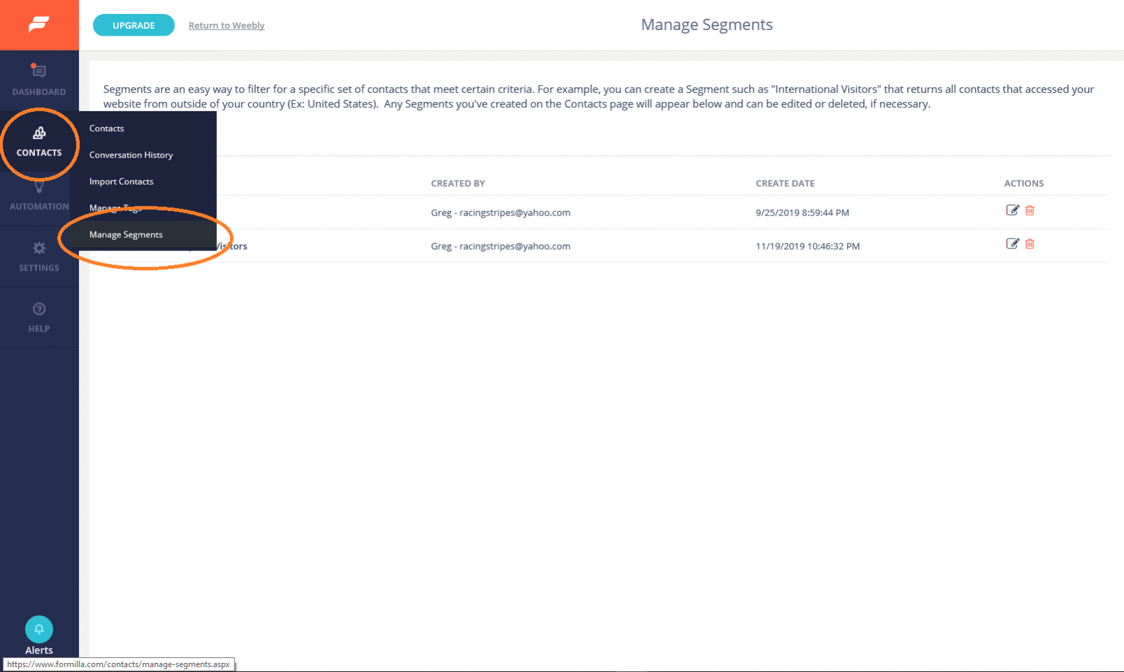 Managing tags and segments
