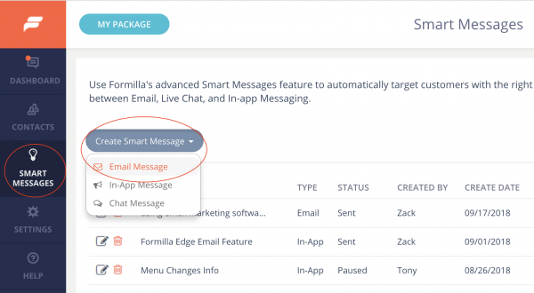 Create Smart Message - Email Message