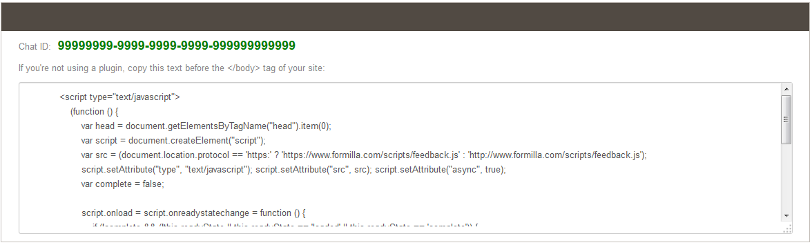 Formilla live chat code snippet