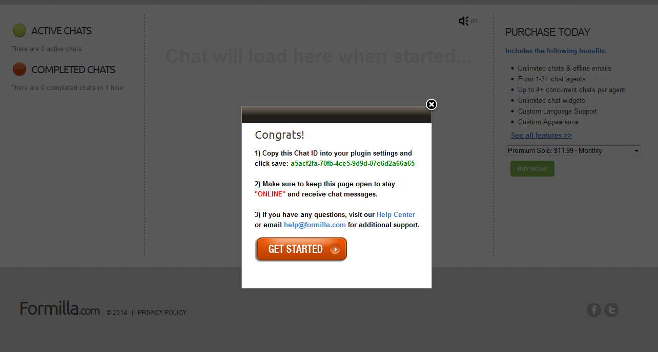 Magento live chat copy chat id