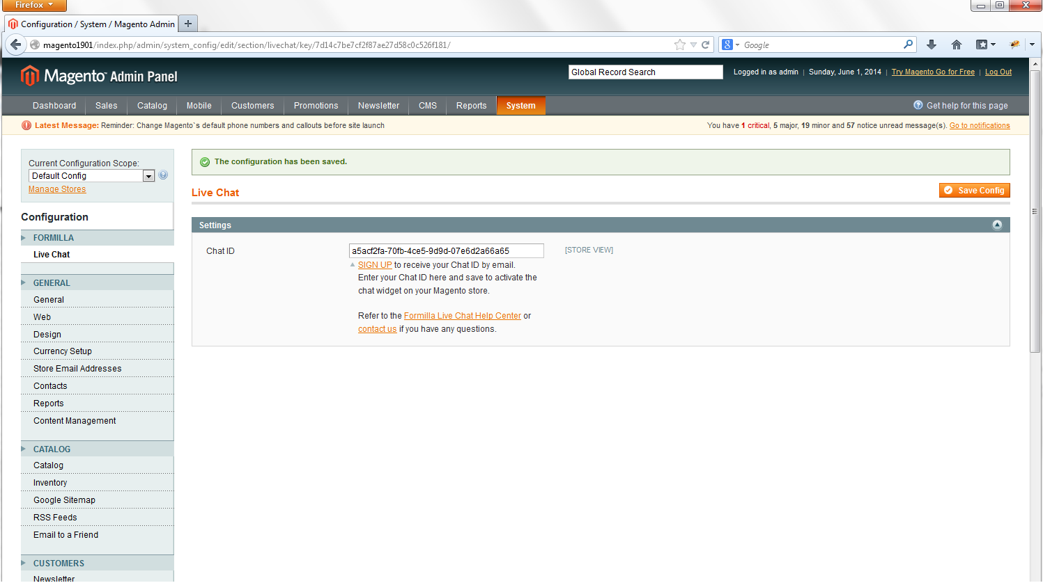 Magento live chat save chat id
