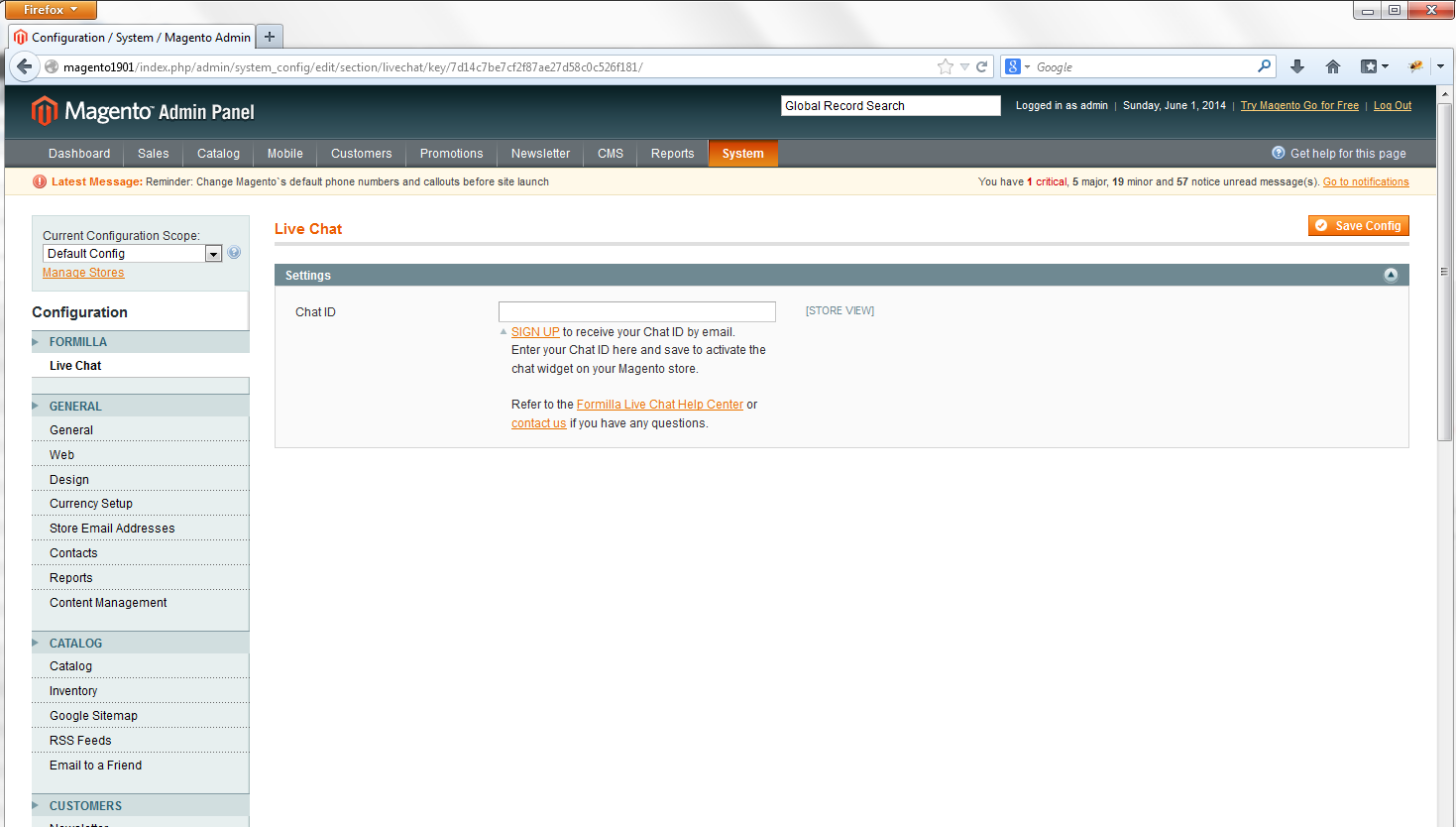 Magento live chat system configuration
