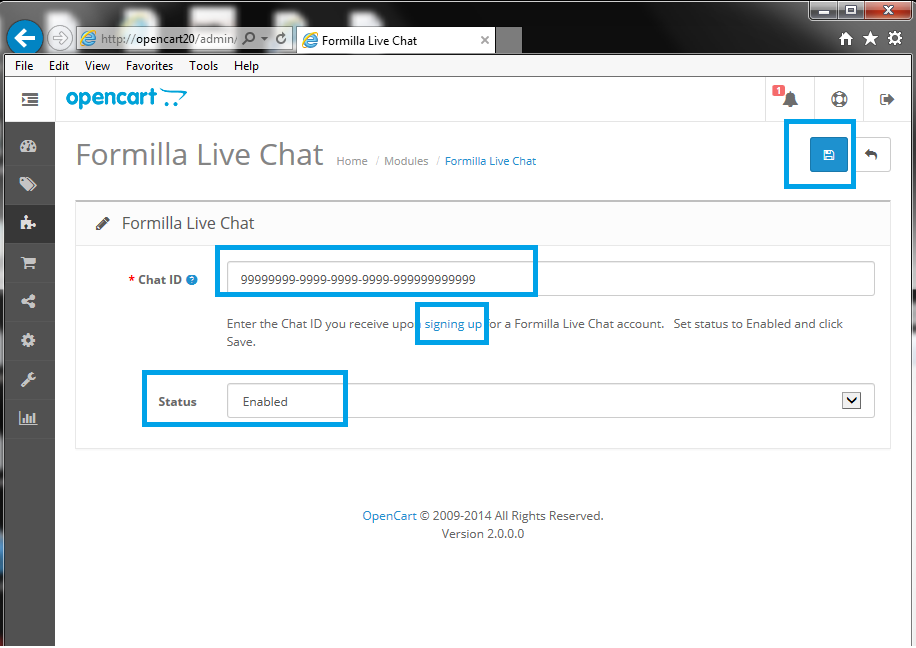 OpenCart Formilla Live Chat Configuration