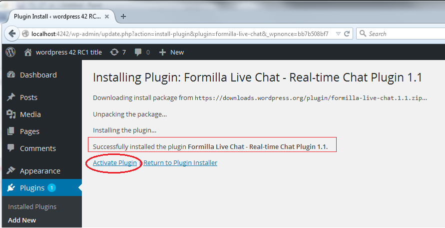 WordPress Admin Activate Formilla Live Chat Plugin