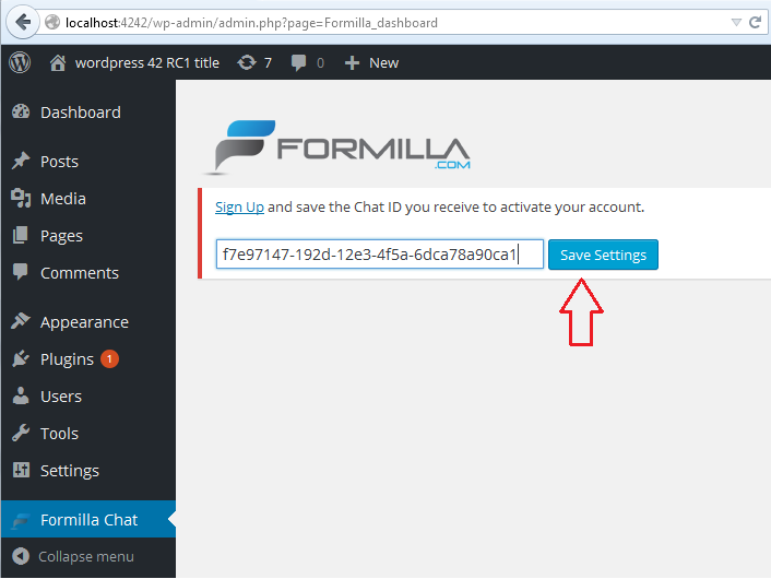 Save Your Chat ID To Activate Formilla Plugin