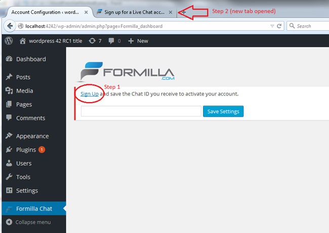 Click Sign Up to Get a Free Formilla Account